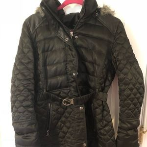 ‼️OBO GUESS FUR LINED HOOD BELTED WINTER COAT